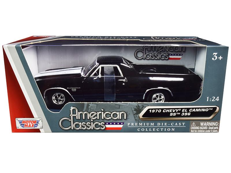 1970 Chevrolet El Camino SS 396 Black White Stripes American Classics 1/24 Diecast Model Car Motormax 79347