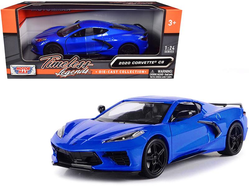 2020 Chevrolet Corvette C8 Stingray Blue Metallic Timeless Legends 1/24 Diecast Model Car Motormax 79360