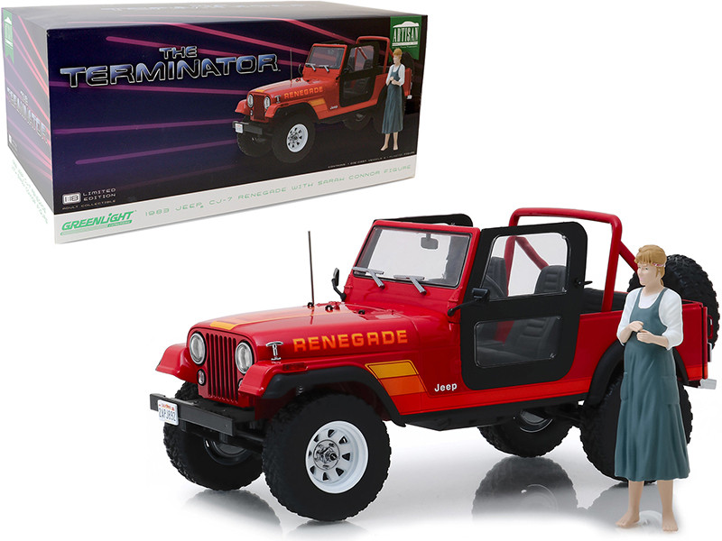 1983 Jeep CJ-7 Renegade Red Sarah Connor Figurine The Terminator 1984 Movie 1/18 Diecast Model Car Greenlight 19060