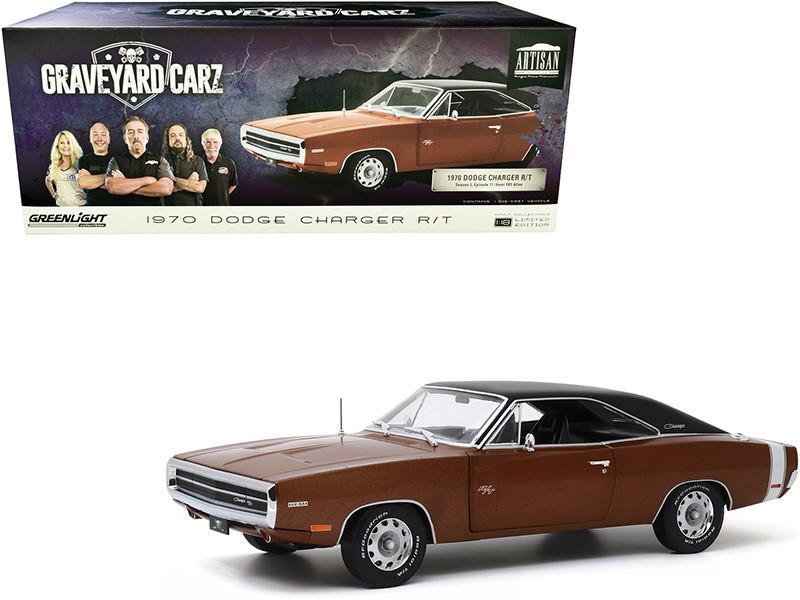 1970 Dodge Charger R/T Dark Burnt Orange Metallic Black Top Graveyard Carz 2012 TV Series 1/18 Diecast Model Car Greenlight 19077