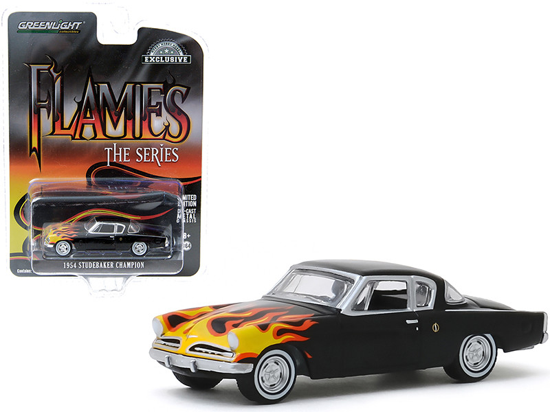 1954 Studebaker Champion Black Flames Flames The Series Hobby Exclusive 1/64 Diecast Model Car Greenlight 30116