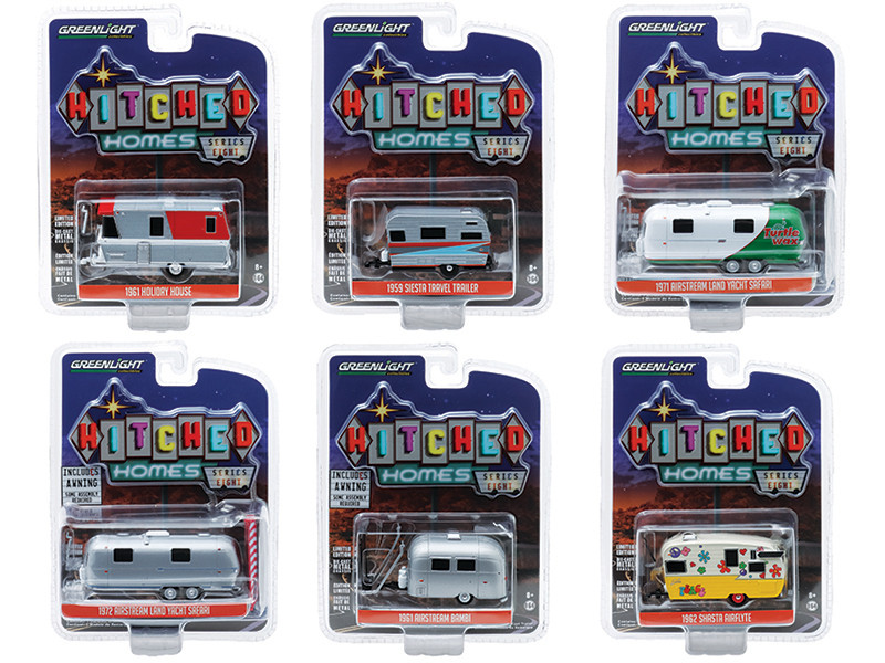 Hitched Homes 6 piece Travel Trailers Set Series 8 1/64 Diecast Models Greenlight 34080