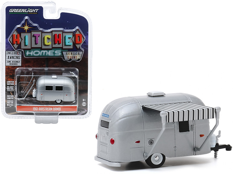 1961 Airstream Bambi Travel Trailer Silver Gray Awning Hitched Homes Series 8 1/64 Diecast Model Greenlight 34080 E