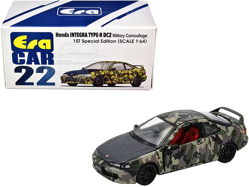 Honda Integra Type-R DC2 Military Camouflage Carbon Hood Special Edition 1/64 Diecast Model Car Era Car HA20DC2RF22