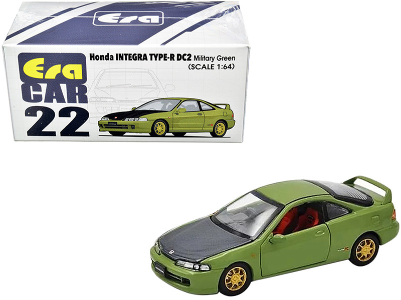 Honda Integra Type-R DC2 Military Green Carbon Hood Gold Wheels 1/64 Diecast Model Car Era Car HA20DC2RN22