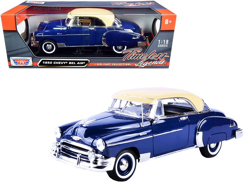 1950 Chevrolet Bel Air Dark Blue Cream Top Timeless Legends 1/18 Diecast Model Car Motormax 73111