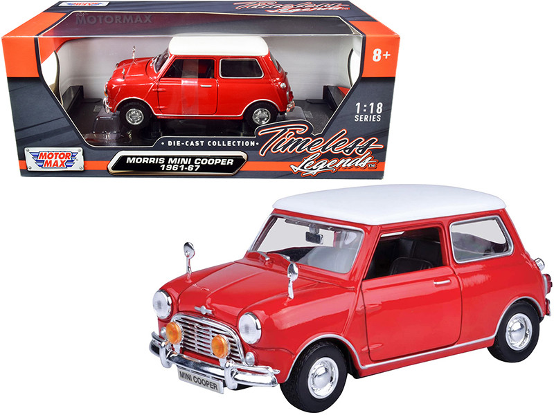 1961 1967 Morris Mini Cooper Red White Top Timeless Legends 1/18 Diecast Model Car Motormax 73113
