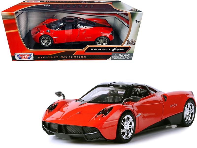 Pagani Huayra Bright Red Chrome Wheels 1/24 Diecast Model Car Motormax 79312