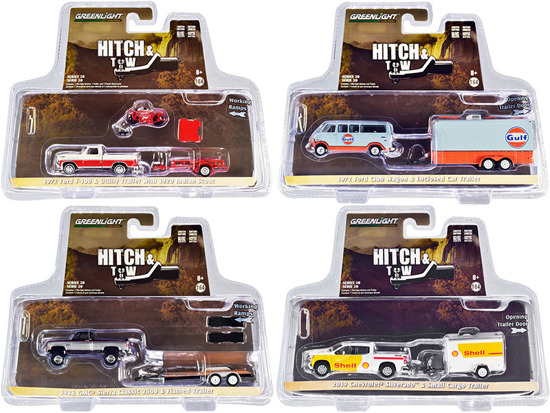 Hitch & Tow Set of 4 pieces Series 20 1/64 Diecast Model Cars Greenlight 32200