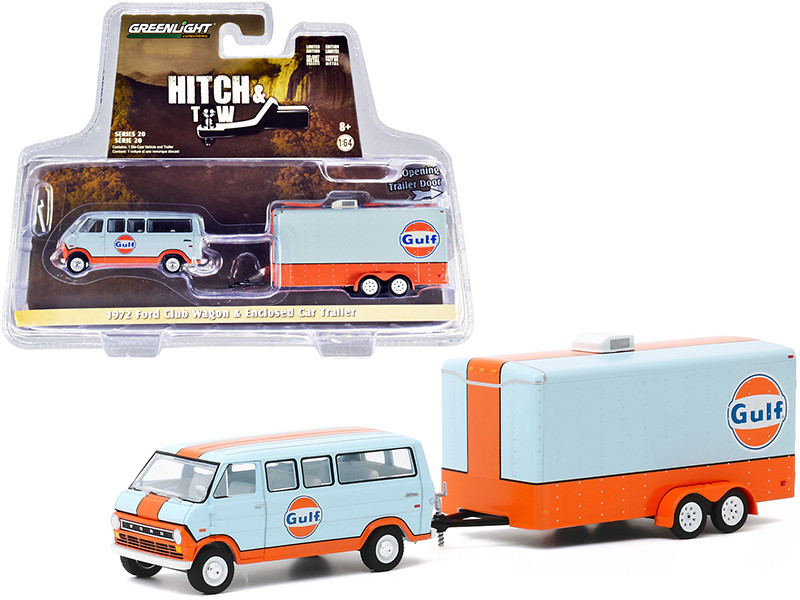 1972 Ford Club Wagon Van Enclosed Car Trailer Light Blue Orange Gulf Oil Hitch & Tow Series 20 1/64 Diecast Model Greenlight 32200 B