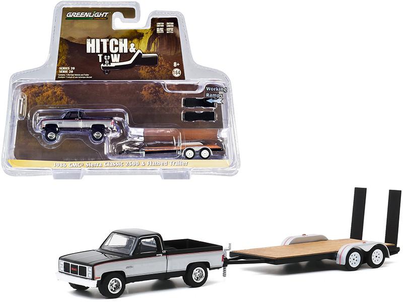 1986 GMC Sierra Classic 2500 Pickup Truck Flatbed Trailer Black Silver Hitch & Tow Series 20 1/64 Diecast Model Car Greenlight 32200 C