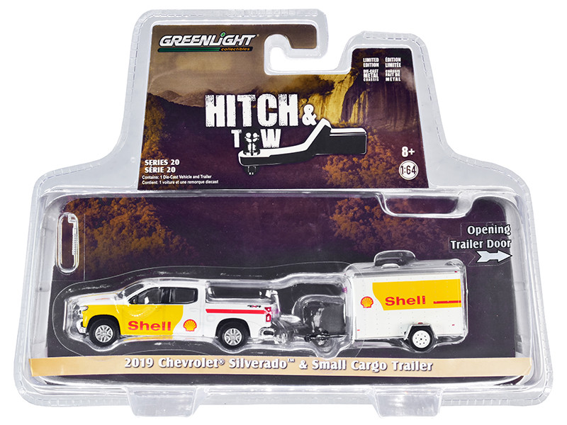 2019 Chevrolet Silverado 4x4 Pickup Truck Small Cargo Trailer White Yellow Shell Oil Hitch & Tow Series 20 1/64 Diecast Model Car Greenlight 32200 D