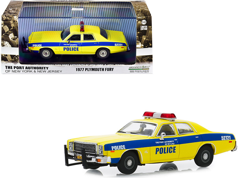 1977 Plymouth Fury Yellow Blue Stripes The Port Authority Of New York New Jersey Police 1/43 Diecast Model Car Greenlight 86568