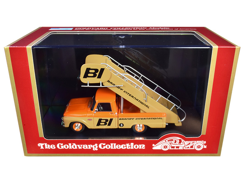1965 Ford Airport Stairs Truck Braniff International Orange Yellow Limited Edition 150 pieces Worldwide 1/43 Model Goldvarg Collection GC-BI-003