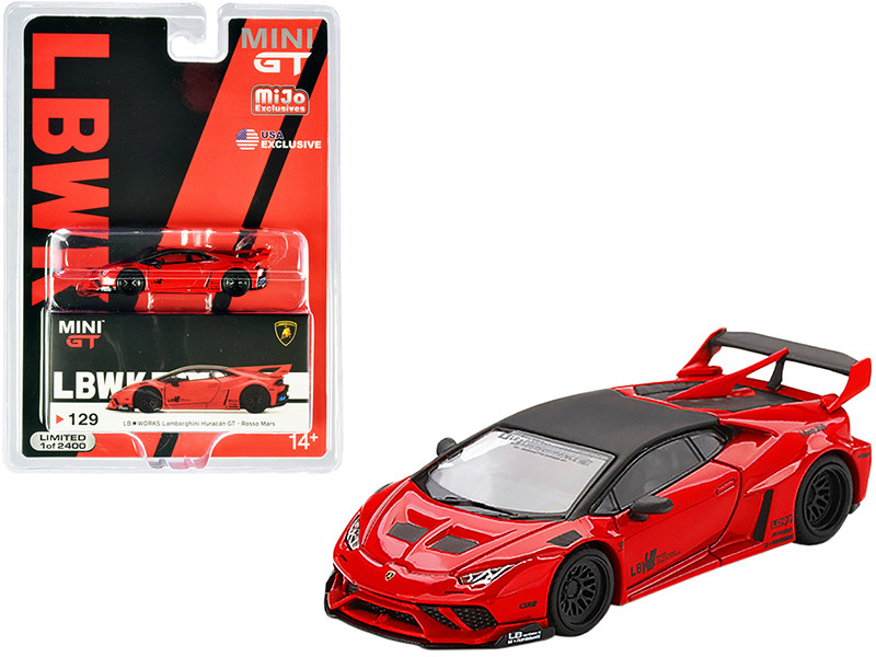 Lamborghini Huracan GT LB Works Rosso Mars Red Black Top Limited Edition 2400 pieces Worldwide 1/64 Diecast Model Car True Scale Miniatures MGT00129