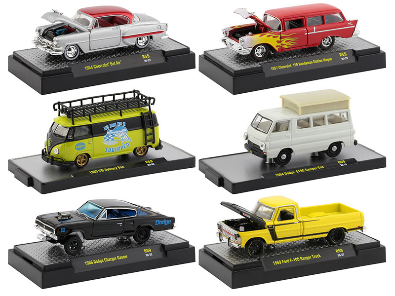Auto Shows 6 piece Set Release 59 DISPLAY CASES 1/64 Diecast Model Cars M2 Machines 32500-59