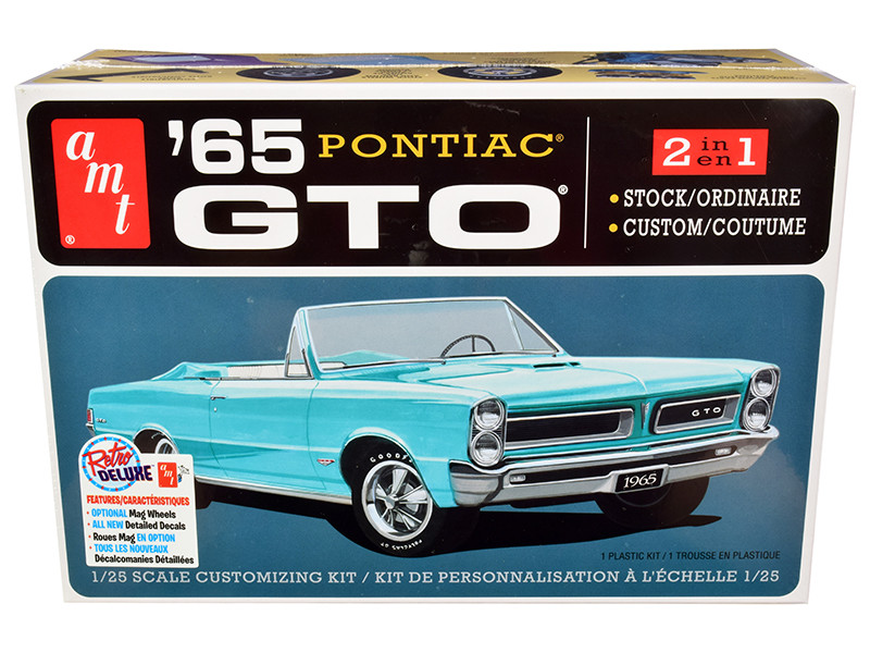 Skill 2 Model Kit 1965 Pontiac GTO 2-in-1 Kit 1/25 Scale Model AMT AMT1191 M