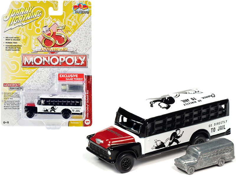1956 Chevrolet School Bus White Black Red Hood Game Token Monopoly 85th Anniversary Pop Culture Series 1/64 Diecast Model Johnny Lightning JLPC001 JLSP092