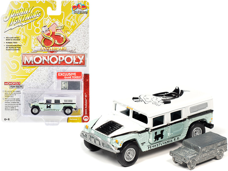 2004 Hummer H1 Game Token Monopoly 85th Anniversary Pop Culture Series 1/64 Diecast Model Car Johnny Lightning JLPC001 JLSP094