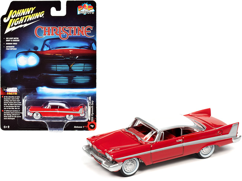 1958 Plymouth Fury Red White Top Daytime Version Christine 1983 Movie Pop Culture Series 1/64 Diecast Model Car Johnny Lightning JLPC001 JLSP095