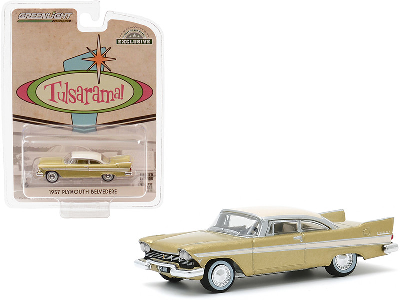 1957 Plymouth Belvedere Desert Gold Sand Dune White Top Tulsa Oklahoma Tulsarama Underground Vault 1957 Hobby Exclusive 1/64 Diecast Model Car Greenlight 30157
