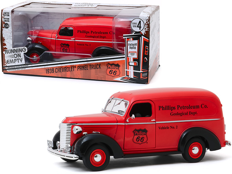 1939 Chevrolet Panel Truck Red Phillips 66 Phillips Petroleum Co Geological Dept Running on Empty Series 4 1/24 Diecast Model Car Greenlight 85051