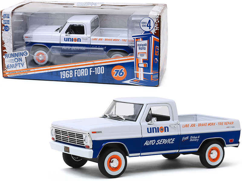 1968 Ford F-100 Pickup Truck White Blue Union 76 Auto Service Running on Empty Series 4 1/24 Diecast Model Car Greenlight 85052