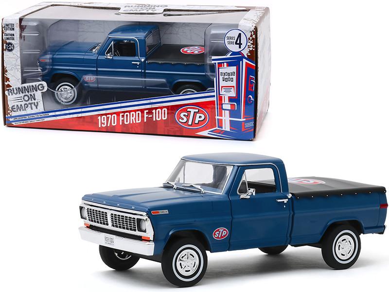 1970 Ford F-100 Pickup Truck Bed Cover Dark Blue STP Running on Empty Series 4 1/24 Diecast Model Car Greenlight 85053
