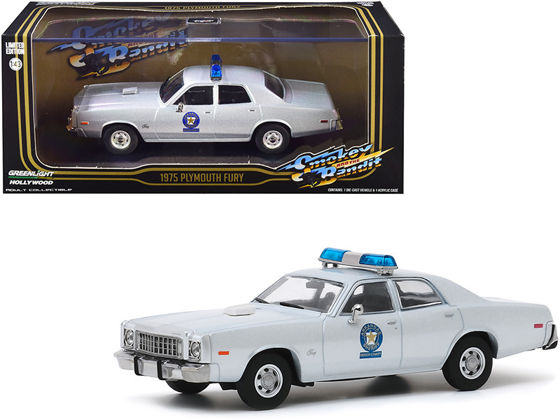 1975 Plymouth Fury Silver Arkansas Sheriff Smokey and the Bandit 1977 Movie 1/43 Diecast Model Car Greenlight 86581