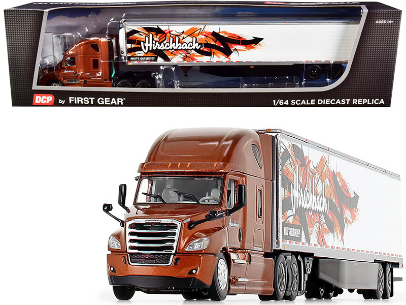 2018 Freightliner Cascadia High-Roof Sleeper Cab 53' Utility Reefer Refrigerated Trailer Skirts Hirschbach 1/64 Diecast Model DCP First Gear 60-0832