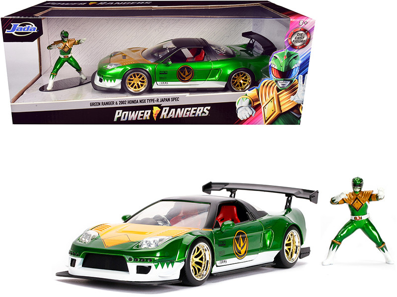 2002 Honda NSX Type-R Japan Spec Green Ranger Diecast Figurine Power Rangers 1/24 Diecast Model Car Jada 31909