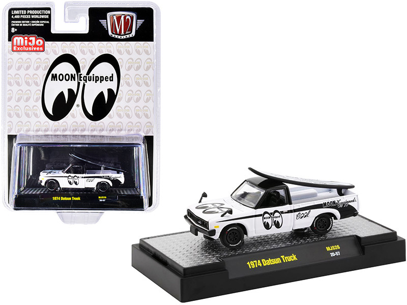 1974 Datsun Pickup Truck White Black Surfboard Mooneyes Limited Edition 4400 pieces Worldwide 1/64 Diecast Model Car M2 Machines 31500-MJS26