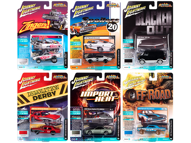 Street Freaks 2020 Set B of 6 Cars Release 2 1/64 Diecast Model Cars Johnny Lightning JLSF016 B