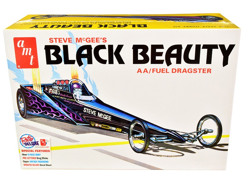 Skill 2 Model Kit Steve McGee's Black Beauty Wedge AA/Fuel Dragster 1/25 Scale Model AMT AMT1214
