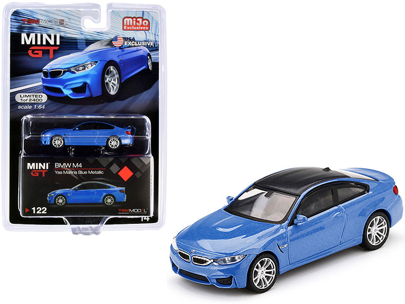 BMW M4 F82 Yas Marina Blue Metallic Carbon Top Limited Edition 2400 pieces Worldwide 1/64 Diecast Model Car True Scale Miniatures MGT00122