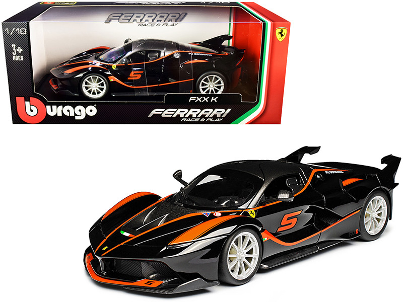 Ferrari FXX-K #5 Fu Songyang Black Gray Top Orange Stripes 1/18 Diecast Model Car Bburago 16010