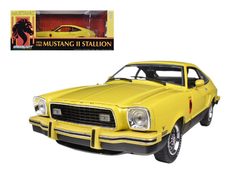 1976 Ford Mustang II Stallion Yellow / Black 1/18 Diecast Car Model Greenlight 12889