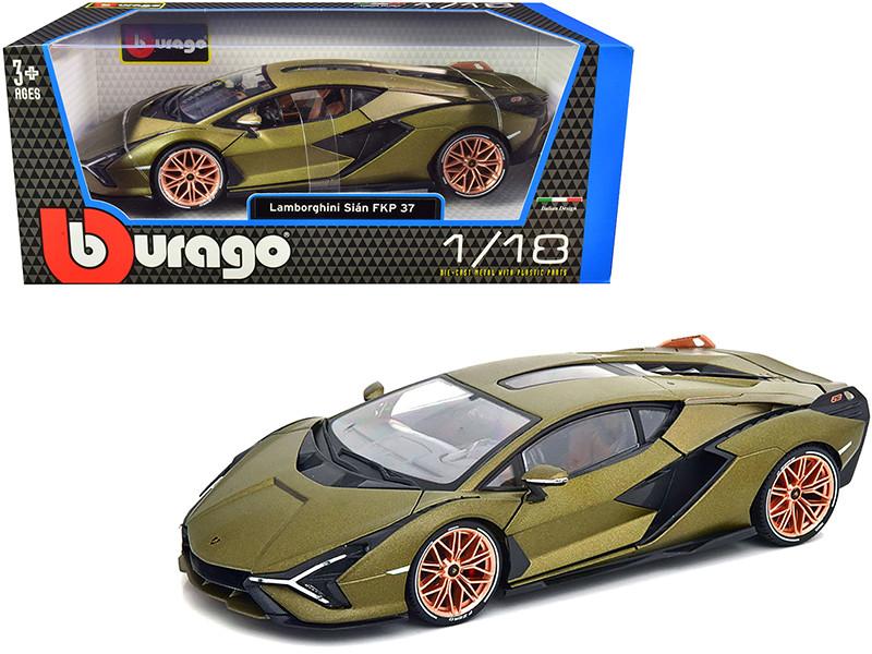 Lamborghini Sian FKP 37 Green Metallic Copper Wheels 1/18 Diecast Model Car Bburago 11046