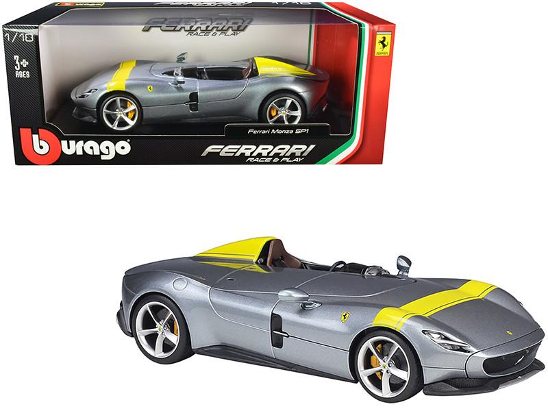 Ferrari Monza SP1 Silver Metallic Yellow Stripes 1/18 Diecast Model Car Bburago 16013