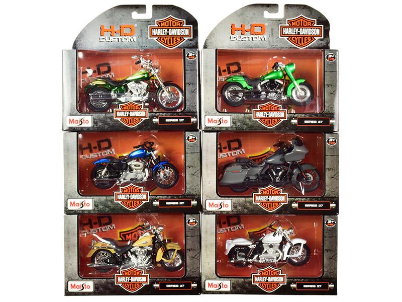 Harley-Davidson Motorcycles 6 piece Set Series 37 1/18 Diecast Models Maisto 31360-37