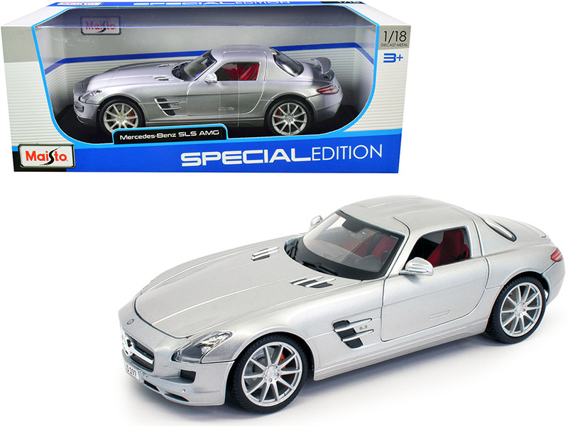 Mercedes Benz SLS AMG Silver Metallic Special Edition 1/18 Diecast Model Car Maisto 31389