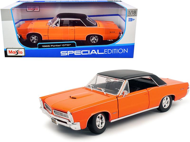 1965 Pontiac GTO Hurst Orange Black Top White Stripes Special Edition 1/18 Diecast Model Car Maisto 31885