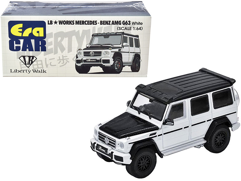 Mercedes Benz AMG G63 LB Works Wagon White Carbon Hood Black Top 1/64 Diecast Model Car Era Car MB204X4SP27