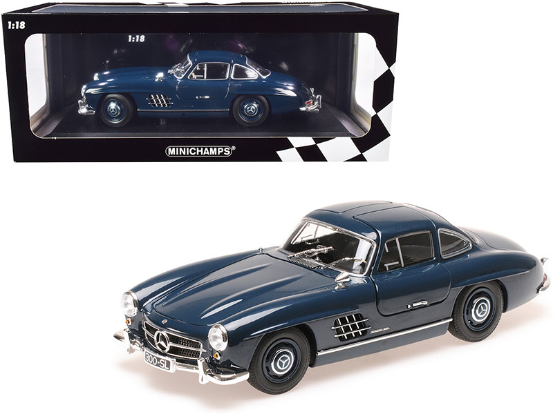1955 Mercedes Benz 300 SL W198 Dark Blue Limited Edition 300 pieces Worldwide 1/18 Diecast Model Car Minichamps 110037216