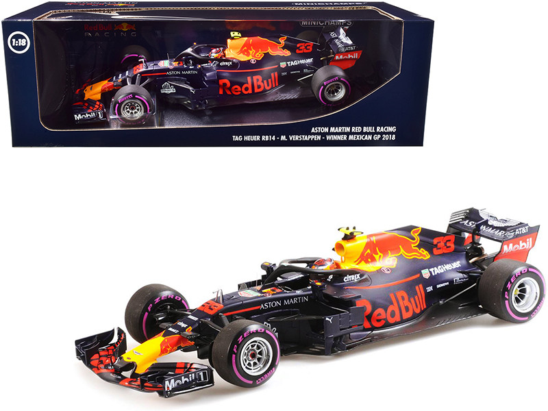 Aston Martin Red Bull Racing Tag Heuer RB14 #33 Max Verstappen Winner Formula One F1 Mexican GP 2018 Limited Edition 504 pieces Worldwide 1/18 Diecast Model Car Minichamps 110181933