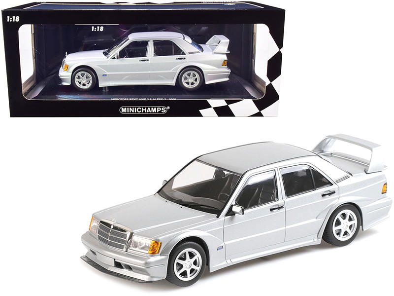 1990 Mercedes Benz 190E 2.5-16 EVO 2 Silver Metallic Limited Edition 804 pieces Worldwide 1/18 Diecast Model Car Minichamps 155036101