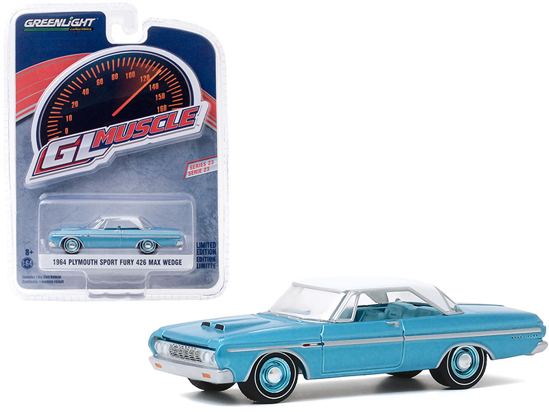 1964 Plymouth Sport Fury 426 Max Wedge Turquoise White Top Greenlight Muscle Series 23 1/64 Diecast Model Car Greenlight 13270 A