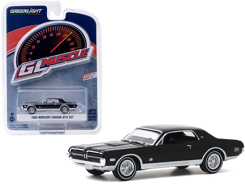 1968 Mercury Cougar GT-E 427 Onyx Black Greenlight Muscle Series 23 1/64 Diecast Model Car Greenlight 13270 B