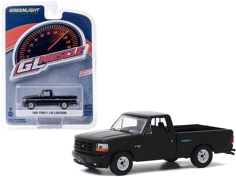 1993 Ford F-150 Lightning Pickup Truck Black Greenlight Muscle Series 23 1/64 Diecast Model Car Greenlight 13270 F