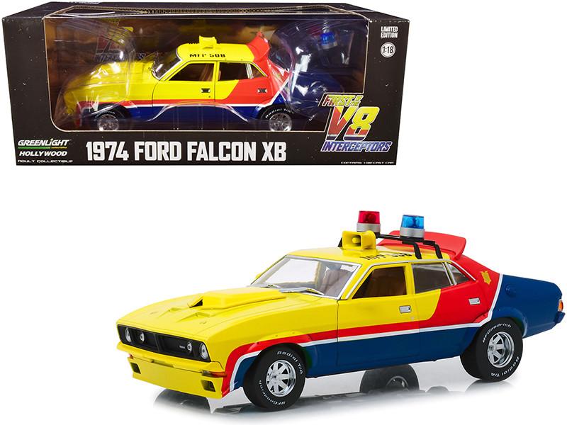 1974 Ford Falcon XB 4-Door Sedan RHD Right Hand Drive MFP 508 First of the V8 Interceptors 1979 Movie 1/18 Diecast Model Car Greenlight 13574